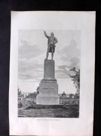 Willoughby Australia 1886 Antique Print. Statue of Captain Cook at Sydney